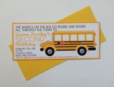 Wheels on the Bus Invitation, School Bus Birthday Invitation, School Bus Party, Transportation Invitation, Kids Birthday Invitation by Sweet Talk Designs  Celebrate the birthday boy or girl with these adorable wheels on the bus party invitations. These invitations feature a bright yellow color scheme, cute fonts, and large school bus. Printed on very heavy 130 lb white card stock.  Invitations measure 9.25x4 and come with matching yellow envelopes. Additional postage may be required.  If you…