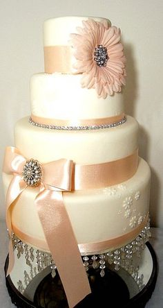 Bling Peach/Ivory Wedding Cake