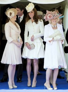 British Royals at Order of the Garter - Britain's Catherine, Duchess of Cambridge (C), Camilla, Duchess of Cornwall (R) and Sophie, Countess of Wessex (L) attend the annual Order of the Garter Service at St George's Chapel at Windsor Castle in Windsor, southern England, June 18, 2012. REUTERS/Paul Edwards/Pool
