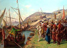 Kusatma Zonaro - İstanbul'un Fethi - Vikipedi-Fausto Zonaro'nun Osmanlı Donanması'nın Haliç'e İndirilmesi adlı tablosu.