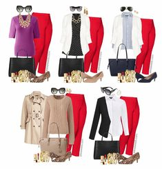 Business Travel Outfits, Red Pants Outfit, Bright Pants, Plus Size Work, Plus Size Fashion For Women, Fashion Women, Next Clothes, Cool Sweaters, Black Blazers