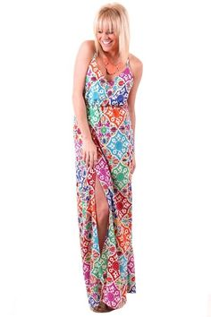 Gorgeous Maxi! Judith March Multicolored Tribal  Maxi Dress, now available at www.herringstonesboutique.com