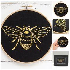 Bee Embroidery Kit {black+saffron}