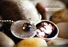 Custom Made Layered Hand Stamped Locket In Sterling Silver