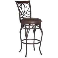 """Trevi Wood and Bronze Metal 26"""" Swivel Counter Stool - Style # 7D901"""