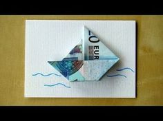Folding banknotes: making a boat for a gift of money Wedding, birthday – … - DIY Origami Origami Diy, Money Origami, Origami Tutorial, Origami Paper, Origami Boot, Origami Butterfly, Origami Flowers, Don D'argent, Origami Youtube