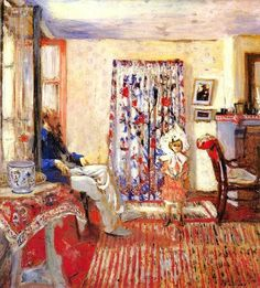 """Edouard Vuillard ( French 1868- 1940 ) """" The Painter Ker- Xavier Roussel and his Daughter Annette """" 1903"""
