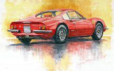 Yurly Shevchuk   WATERCOLOR    Ferrari Dino 246
