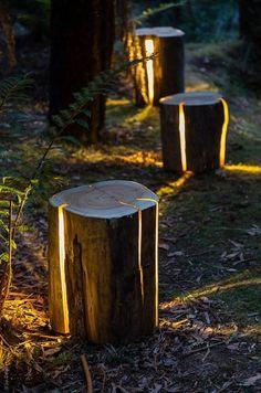 Des bûches fendues pour illuminer et décorer le jardin pour Noël