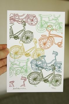 Pattern of bikes with a nice colour palette.