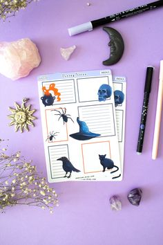 Halloween Functional Planner Boxes, Halloween Planner Stickers, Halloween Stickers for Planner, Halloween Journal Stickers, Spooky Stickers Calendar Stickers, Cat Stickers, Journal Stickers, Planner Stickers, Samhain Traditions, Grimoire Book, Halloween Stickers, Book Of Shadows, Spooky Halloween