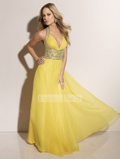 Halter Deep V-neck Empire Floor Length With Beadings Prom Dress PD10079