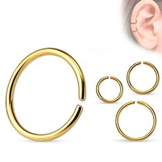 Continuous-ring titanium anodized golden Piercings, Titanium Rings, Bangles, Bracelets, Hoop Earrings, Jewelry, Watches, Ring, Peircings