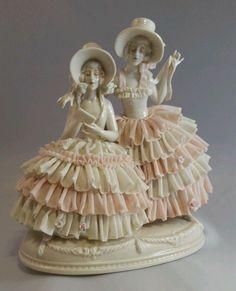 Large Ackermann Fritze German Porcelain Lace Dresden Volkstedt  Ladies Reading  #AckermannFritze
