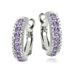 Glitzy Rocks Gemstone, Amethysts on Silvertone, Diamond Accent Hoop Earring New #Hoop