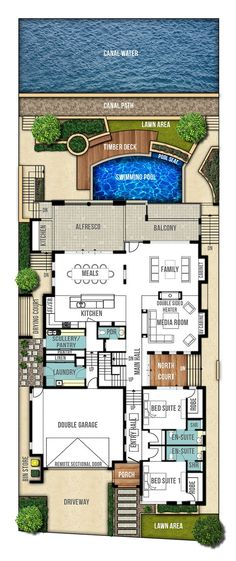 Reef Undercroft Home Design Plans - Ground Floor Plan Contemporary House Plans, Modern House Plans, Home Design Plans, Plan Design, Dream House Plans, House Floor Plans, Ground Floor Plan, Deck Plans, House Blueprints