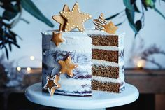 This gingerbread naked layer cake is the perfect combination of sweet and spice, and tastes oh-so-nice! Layer Cake Recipes, Dessert Cake Recipes, Round Cake Pans, Round Cakes, Crunchy Noodle Salad, Gingerbread Trifle, Christmas Desserts, Christmas Cakes, Christmas Lunch