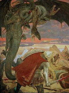 Zmey Gorynych (dragón eslavo, con vs cabezas), por Viktor Vasnetsov