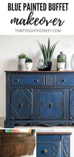 Stunning Painted Blue Buffet Makeover. Learn How To Paint Furniture from Thirty Eighth Street! #streetfurniture #paintingfurniture