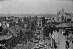 Damage from the 1896 St. Louis Cyclone. A Glimpse of Missouri Avenue. This portion of Missouri avenue is in the Lafayette Park District and was lined with handsome homes.  The ruins on the right of the photo are all that is left of the Park Presbyterian Church.