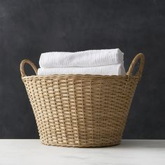 Wicker Laundry Basket in Laundry   Crate and Barrel