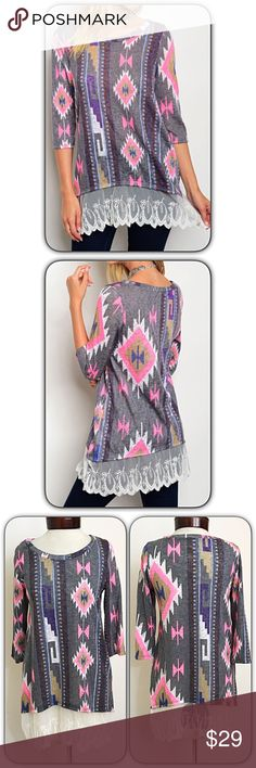 """HOTSALELace Hem Aztec Tunic Top SML Add a splash of color to your wardrobe with this gorgeous lace trim aztec tunic top!  Features: • Ivory Lace Trim  • 3/4 Sleeves • Longer Length pairs nicely with leggings/skinnies/jeggings • Hot pink charcoal khaki purple blue tribal aztec pattern  • Stretchy Flattering Fit • 96% Polyester 4% Spandex  Small 2/4 Bust 32-34 Length 29""""  Medium 6/8 Bust 36-38 Length 30""""  Large 10/12 Bust 38-40 Length 31"""" Tops"""