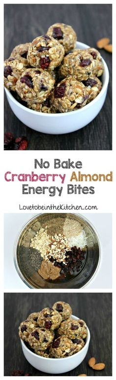 No Bake Cranberry Almond Energy Bites- A delicious energy-boosting snack! Filled with healthy ingredients like chopped almonds, oats, flax seed, craisins and more!