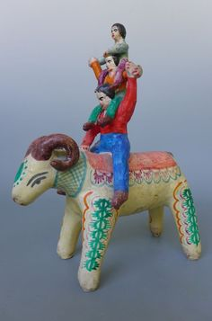 "Vintage old Mexican Puebla Castillo ceramic stacked acrobats on ram 8 1/2"" tall"