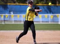 Kelsey Chambers . . . throwing the softball