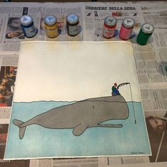 Whale & Fisherman.. Hunger... Work in progress (Stamperia 74/b) #drawing #draw #illustration #picture #colorful #visualart #artist #art #artwork #sketchbook #creative #pencil #paint #painting #printingpress #printmaking #handmade #monzanifederico #stamperia74b #contemporaryart #color #print @stamperia74b by monzanifederico