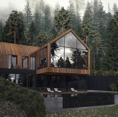 Office houses design plans exterior design exterior design houses home architecture house design houses Dream Home Design, Modern House Design, Loft Design, Future House, My House, House Front, Design Exterior, Forest House, Dream House Exterior