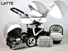 White Lux 3in1 babakocsi - Latte, White Lux 3in1 multifunkciós babakocsi mózeskosárral, sportrésszel, bébihordozóval. Divatos babakocsi fehér vázzal és fehér textilbőr betétekkel., Zsebi Babaáruház