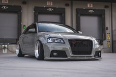 stanced out bagged up Audi A3 sportback 8P with BBS RS wheels.