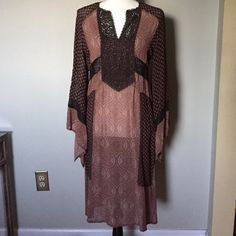 """Mase Paris Bohemian Dress M Lovely paisley printed dress with sheer waistband and full bell sleeve. Festival season perfection! 100% viscose. 42"""" length with slits at the sides. Muse Paris Dresses Midi"""