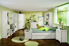 Lime Green Bedroom Decoration With White Trundle Bed