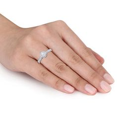 0.72 CT. T.W. Oval Diamond Frame Engagement Ring in 14K White Gold   View All Wedding   Wedding   Peoples Jewellers