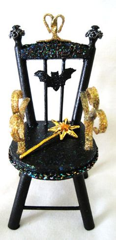 Miniature Witch Throne Gothic Chair   Black Bat & by fantasycrafts, $13.50