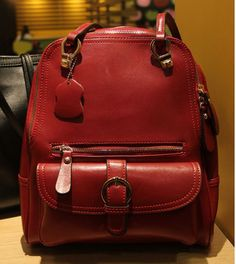 (Buy here: http://appdeal.ru/1s0b ) 2016 Red leather backpack fashion lady backpacks shoulder school backpacks bags satchel women bags for just US $53.96