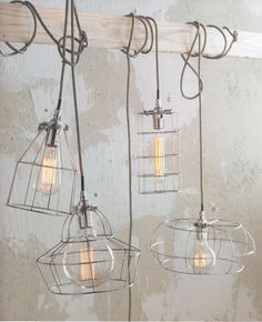 hanging cage lights - could be a great DIY projects, like A, B, D, but C. The light bulbs , socket and waved cord