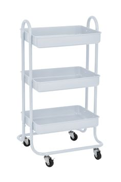 Superbe 3Tier Metal Utility Service Rolling Handle Storage Cart With Wheels In  White * Visit The Image