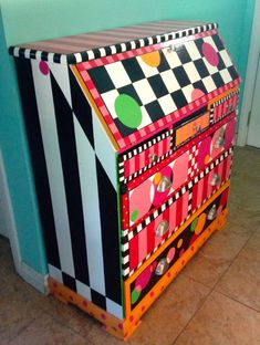 Brightly painted drop-top desk in circles, checks, and stripes | Rebecca Waring-Crane