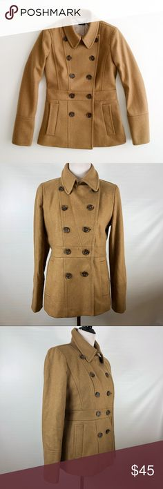 J. Crew Factory Wool Peacoat Beautiful Wool blend peacoat in excellent pre owned condition. Has a very very small flaw(small thin patch) on back-see pics.  Size 8. See pit measurements J. Crew Factory Jackets & Coats