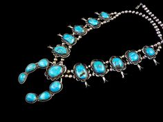 Vintage Navajo Sterling Silver Squash Blossom Necklace w LUMINOUS Blue Gem Turquoise! Large Beautiful Stones!