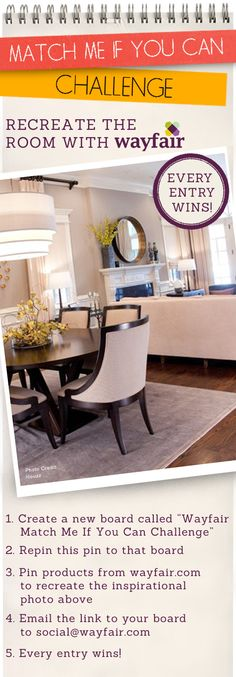 EVERY ENTRY WINS! Recreate this room using Wayfair products :)
