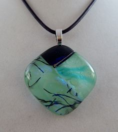 Green Dichroic Glass Pendant by ZacInTheBoxCreations on Etsy