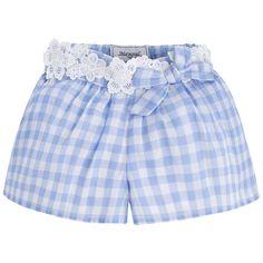 1.236 066 Añil Short vichy con guipur mayoral - Moda y ropa infantil online. Mayoral.