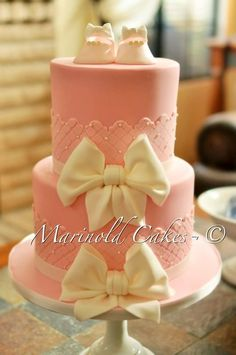 Shoes and Bows Baby Shower Cake