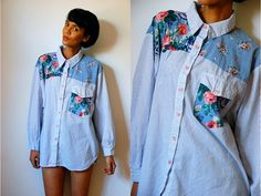 Vtg Mixed Floral Striped Blue White LS Button Down by LuluTresors, $24.99