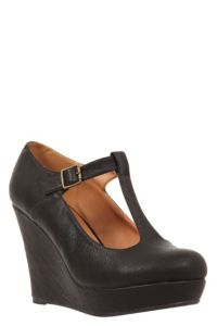 Black Mixer T-Strap Wedge (Wide Width)   Shoes