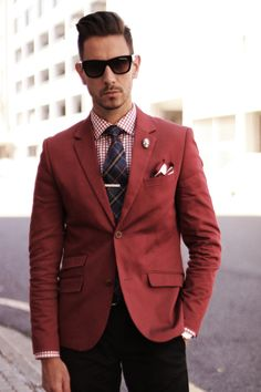 Mens Fashion - Marc JAcobs sunglasses, Red blazer, tartan tie, check shirt, skull lapel pin, white and red pocket square, black pants
